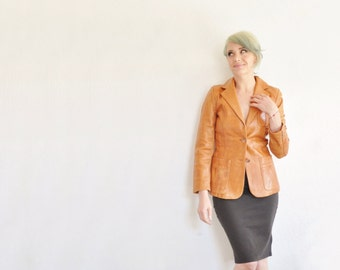 genuine leather blazer jacket . golden chesnut tan fitted coat .extra small.xs