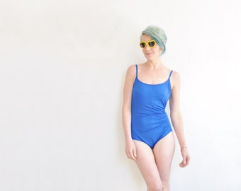 cobalt blue 1 pc swimsuit . electric maillot . gathered side bathing suit .small