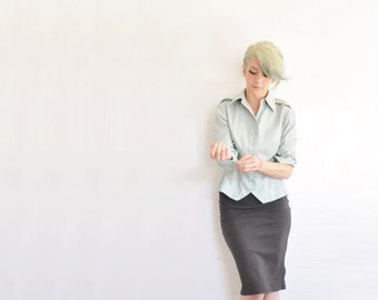 mint green army tailored blouse . government secretary fitted shirt .medium .sale s a l e