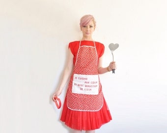 french HEART apron . beaucoup de coeur . sweetheart valentine chef .sale
