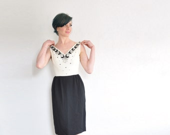 mid century beaded cocktail dress . cream black bombshell dress .extra small.xs .sale