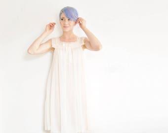 sheer blush pink mod sailor slip . mid century babydoll dress lingerie .small.medium