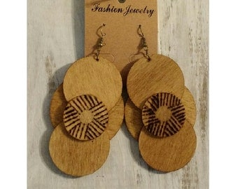 Wood Geometric Earrings for Women Long Large Statement Afrocentric Tribal Ethnic mPERFEKtion Earring by Crittique - #mPER23