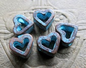 NEW Mykonos HEART SPACERS . 8 mm . 4 pieces . Greek Findings