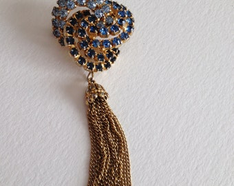 Shades of Blue Rhinestone Brooch Made in Austria Tassel
