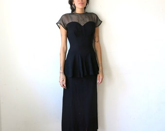 40s Crepe Dress / Black Crepe Dress with Peplum / Mesh Bodice Sz S