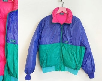 Vintage 1980s Neon Green/Blue/PINK Winter Puff Jacket by CB Sports Womens Size M