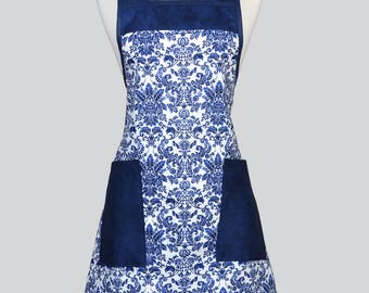 BETTY Retro Chef Womans Apron - Navy Blue White Damask Vintage Inspired Cute Kitchen Cooking Apron with Large Pockets