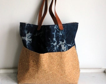 Denim Calaxy Big Tote bag / With Cork / Leather handles / Cork tote / Leather straps / Large / School bag / Back to school