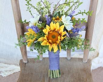 Sunflower Wedding Bouquet   Yellow Gold and Lavender Purple   Boho Wispy Wildflower Bouquet   SG-1010