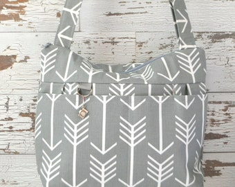 Camera bags, made in the USA by Darby Mack Grey Arrow print cotton, washable, Lightweight & durable