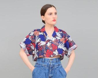 80s Shirt, Crop Top, Tropical Leaves Novelty Print, Cotton Cropped Shirt, Short Sleeve Top, 80s Oversize Shirt Small Medium S M