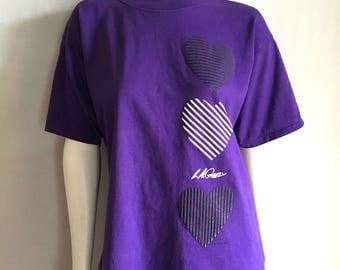 Vintage Women's 80's LA Gear T Shirt, Purple, Black, Short Sleeve (L/XL)