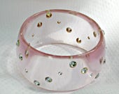 Lucite Bracelet and Stones Vintage Bangle Jewelry Transparent Pink Band