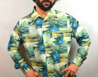 Rare Vintage 1970s Photo Print Photoprint Sailboats Boat Button up Shirt - By Capri