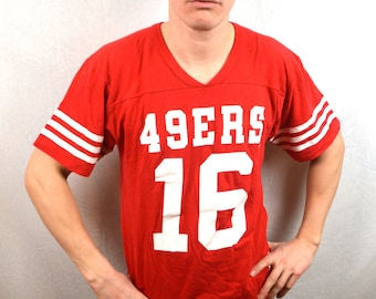 Vintage San Francisco 49ers NFL 80s Red Jersey Tee Shirt Tshirt
