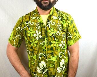 Vintage 70s Barefoot Paradise Hawaiian Shirt