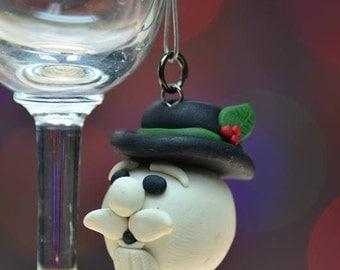 Sam the snowman, Christmas Ornament, Christmas Pendant, Hand sculpted, Polymer Clay Christmas Tree Ornament, From Rudolf, Snowman ornament