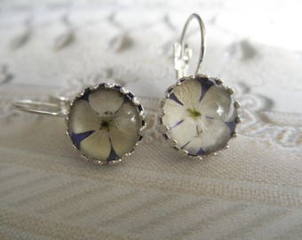 Snowball Bush Blossoms Atop Royal Purple Under Glass Crown Leverback Victorian Pressed Flower Earrings-Symbolizes Thoughts of Heaven