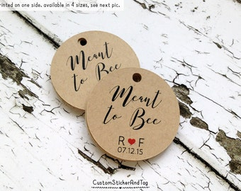 50 meant to bee tags with custom initials and wedding date, wedding favor tags, custom wedding tags, personalized tags, kraft tags (T-10)