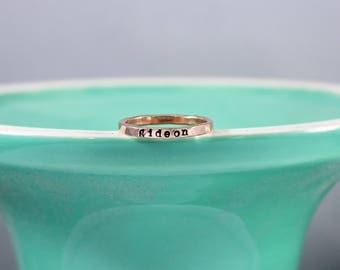 Rose gold filled Name Ring, mother's ring, Personalized Hand Stamped Jewelry, Skinny Name Ring, Thin stacking ring, name jewelry, pink gold