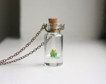 Frog Prince Necklace - mini glass bottle pendant, prince charming, tiny figurine, bottle necklace, biology jewelry, toad and lily
