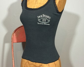 Vintage 70's Jack Daniel's Distressed Paper Thin Tank Tee Biker Boho XS