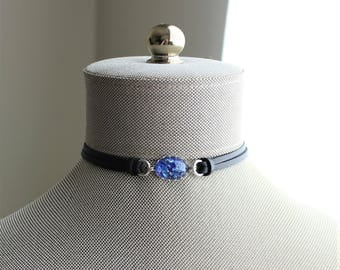 Blue Opal Leather Choker and/or Bracelet. Choose from 9 leather colors