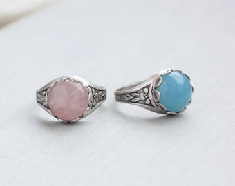 Rose Quartz Ring Or Blue Quartz Ring