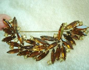 Gold tone Topaz  Rhinestone Flower Brooch