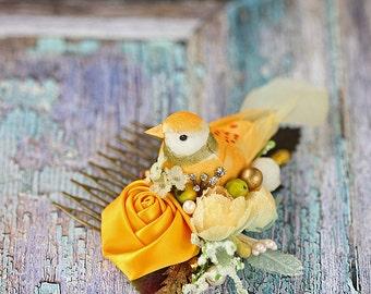 an orange bird floral hair comb. a bird headpiece. wedding hair comb. a romantic wedding hair comb. bridal head comb.