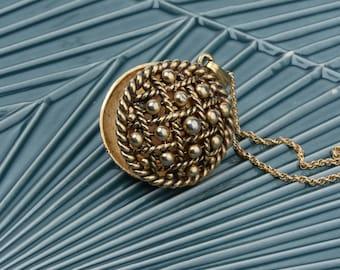 Gold Studded Locket Necklace, Vintage Vanda Pendant Necklace, Long Gold Chain, Gold Statement Necklace