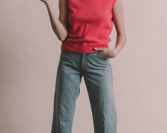 Vintage 60s Cashmere Knit Sleeveless Mock Turtleneck | M