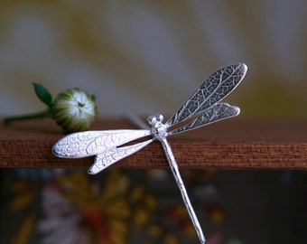 Dragonfly Necklace, Silver Dragonfly Pendant, damselfly jewelry, dragonfly gift, Sterling Silver, Nature Jewelry,Handmade Jewellery, UK shop
