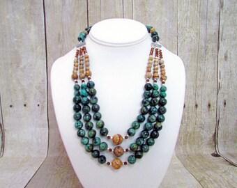 African Turquoise (Jasper) Multi Strand Necklace - JP40 -