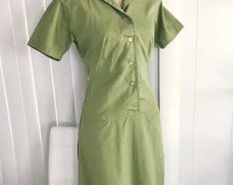 Vintage 1960's Green Cotton Dress Frock -- Adorable -- Retro -- Size M
