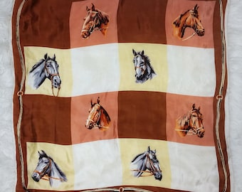 NAAAAY! Vintage Horse Squares Scarf - Preppy Brown & White Square Equine Graphic