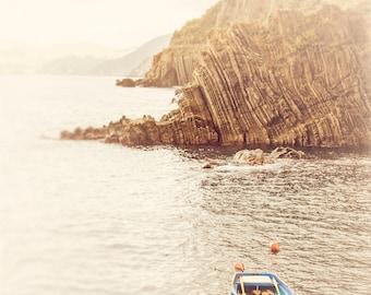 Blue Boat Photograph, Nautical Decor, Cinque Terre, Italy Wall Art, Landscape Photography, Riomaggiore, Fishing Boat, Coastal Art, Row Boat