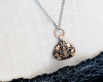 Antique Victorian Gold Watch Fob, Large Ornate Rose Gold Filled Blank Seal Watch Fob Necklace, Hypoallergenic Chain