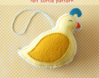 PDF Pattern - Little Partridge Pattern, Christmas Felt Ornament Pattern, Felt Softie Sewing Pattern, Felt Bird Pattern