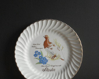 Alaska Love - Vintage Souvenir Plate - AK Plate - Illustrated Alaska Dinner Size Plate