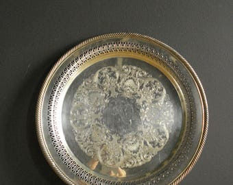 Vintage Silver Punch Tray - Ornate Round Platter or Serving Tray - Wm. Rogers 160
