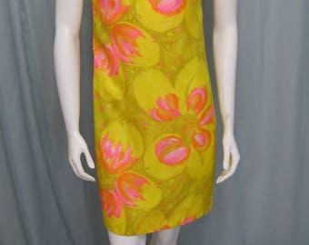 1960's-1970's light weight floral silk, rayon mini dress size XS