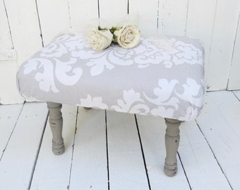 White Foot Stool, Old Gray Stool, Vintage Stool, Damask Decor, Paris Flea Market, French Cottage Decor, Rustic Decor, Shabby and Chic