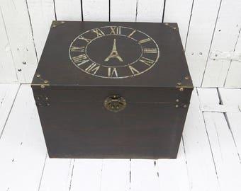 Storage Box, Black Box, Wood Box, Eiffel Tower Decor, French Cottage Decor, Shabby, Farmhouse, Rustic, Cottage, Organization, Old Box Stool