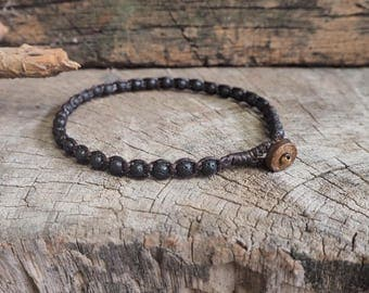 Simple Lava Beads Anklet, unisex anklet, mens anklet