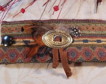 Southwestern Fabric Cuff Bracelet, Boho, Music Festival, Tribal, Ethnic, Small to Medium