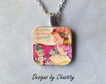 Birthday Necklace Girl Kitty Cake Tea Party - Pretty in Pink Pendant Chain Included