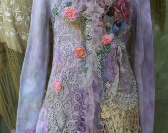 Lavender lace,  jacket - ornate festive jacket, bohemian romantic,  altered couture, embroidered and beaded details