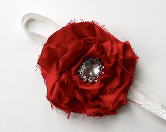 DAZZLE - Vintage Couture Shabby Chic Silk Flower headband- RED - ((ready to ship))-  Photo Prop - Wedding- Valentines Day